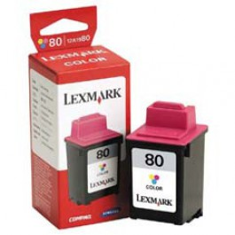 Ink Cartridge Lexmark 12A1980E, Type 80, CJP3200, Color, max yield 275 copies, ORIGINAL, SUPER PRICE (valid until stock limit), damaged box/old box design